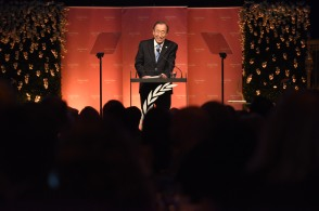 Secretary-General Ban Ki-moon attends the 2015 United Nations Foundation Global Leadership Awards Dinner, Tuesday, Nov. 3, 2015, at Gotham Hall in New York. (Photo by Diane Bondareff for UNF)